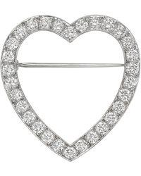 Tiffany & Co. Platinum & Diamond Heart Pin - Multicolor