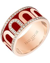"Davidor 18k Rose Gold, Diamond & Bordeaux Lacquer ""l'arc"" Band - Multicolor"
