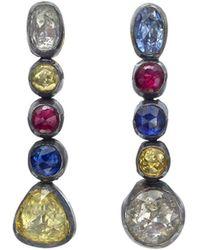 "Yossi Harari - Multicolored Sapphire ""cascade"" Drop Earrings - Lyst"