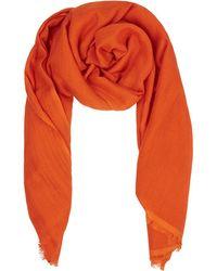Beulah London Tangerine Cashmere & Wool Blended Scarf - Orange