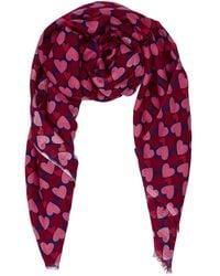 Beulah London Kamala Pink & Burgundy Heart Scarf