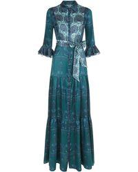 Beulah London Nalini Peacock & Emerald Dress - Blue