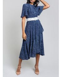 Beulah London - Indu Navy Daisy Motif Belted Dress - Lyst