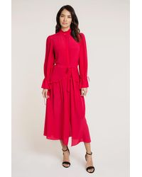 Beulah London Darsha Raspberry Shirt Dress - Red