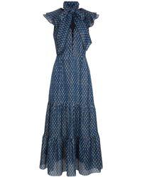 Beulah London Tejal Micro Geo Deep Sea Tiered Dress - Blue