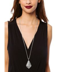Kendra Scott - Aiden Silver Long Pendant Necklace In Silver Filigree - Lyst