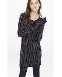Express Metallic Snakeskin Jacquard Sweater Dress - Black