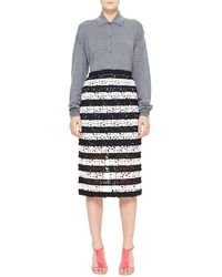 Burberry Prorsum - Striped Curlicue Embroidered Lace Midi Skirt - Lyst