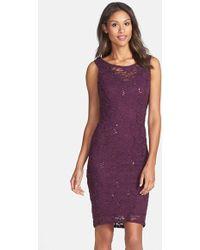 Marina Sequin Lace Sheath Dress - Lyst