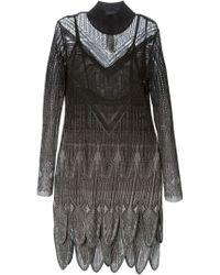 Roberto Cavalli Crochet Knit Scalloped Hem Dress - Lyst