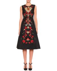 Dolce & Gabbana Sleeveless Floral-Embroidered Dress - Lyst