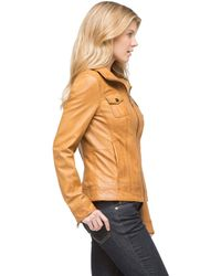 G.H. Bass & Co. Carly Leather Jacket - Lyst