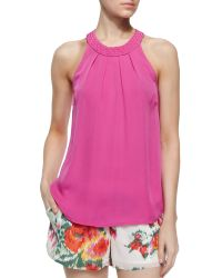 Joie Fantina Braided-Collar Tank Top - Lyst