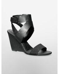 Calvin Klein White Label Maisi Wedge Sandal black - Lyst