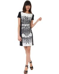 Kay Unger Graphic Print Colorblocked Dress - Lyst