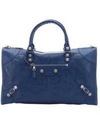 Balenciaga Blue Distressed Leather 'Giant Work' Large Top Handle Bag - Lyst