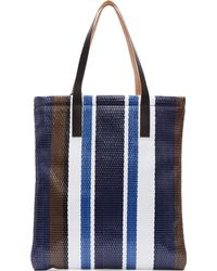 Marni Naby And White Stripe Woven Straw Tote Bag - Lyst