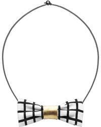 Scenery Label Grid Bow Chain - Multicolor