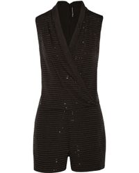 W118 by Walter Baker | Gabby Wrap-effect Bead-embellished Satin Playsuit | Lyst