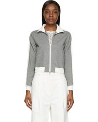 3.1 Phillip Lim Grey And White French Terry Trapunto Sweater - Lyst