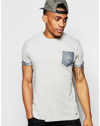 Firetrap - Burnout Crew Neck T-shirt With Pocket And Roll Sleeves - Lyst