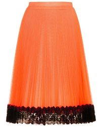 Christopher Kane Pleated Tulle And Lace Skirt - Lyst