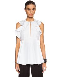 Givenchy Ruffle Sleeve Cotton Top - Lyst