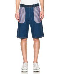 Junya Watanabe - Men's Cotton Twill & Stripe Shorts - Lyst