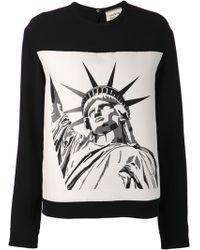 Fausto Puglisi Black Graphic Sweatshirt - Lyst