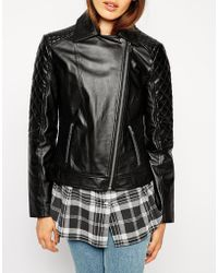 Asos Leather Biker Jacket With Multi Quilted Detail - Lyst