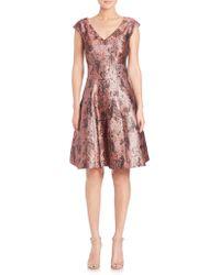 Kay Unger | Jacquard V-neck Fit-&-flare Dress | Lyst