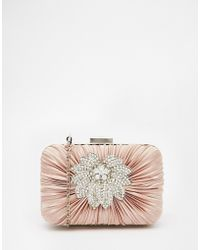 Vintage Styler - Box Clutch With Floral Brooch Detail In Nude - Lyst