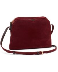 The Row Multipouch Suede Crossbody Bag - Lyst