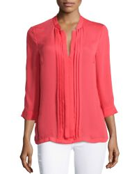 Halston Heritage Pleated-Front Top pink - Lyst
