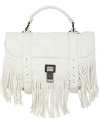 Proenza Schouler Ps1 Tiny Fringed Lux Leather Bag white - Lyst