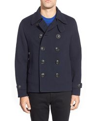 Burberry Brit - Burberry The Britain 'darvel' Double Breasted Peacoat - Lyst