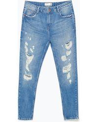 Zara Ripped Cigarette Jeans - Lyst
