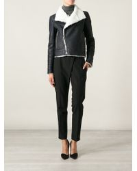 Anthony Vaccarello Shearling Biker Jacket - Lyst