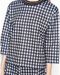 Wood Wood Hope Sweatshirt in Black White Check - Lyst