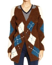 Manila Grace Sweater Cardigan Long Check - Lyst