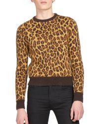 Saint Laurent | Leopard Intarsia Sweater | Lyst