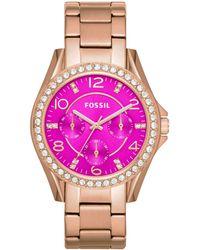 Fossil | Women'S Riley Rose Gold-Tone Stainless Steel Bracelet Watch 38Mm Es3531 | Lyst