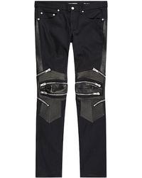 Saint Laurent Leather Panel Biker Jeans - Lyst