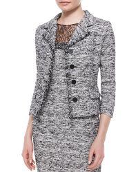 Rickie Freeman for Teri Jon 3/4-Sleeve Four-Button Tweed Jacket - Lyst