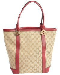 Gucci Raspberry and Beige Miss Gg Canvas Leather Accented Ssima Pattern Printed Tote - Lyst