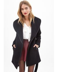 Forever 21 Shawl Collar Coat - Lyst