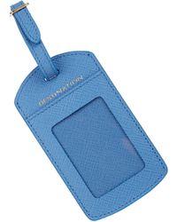 Smythson Panama Leather Luggage Tag - Blue