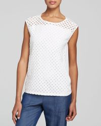 DKNY Cotton Eyelet Top - Bloomingdale'S Exclusive - Lyst