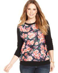 Soprano - Plus Size Floral-print Sweatshirt - Lyst