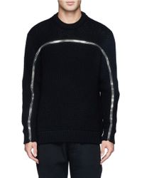 Givenchy Zip Eyelet Knit Sweater - Lyst